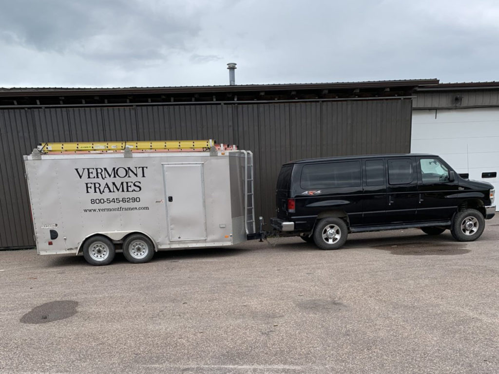 Vermont Frames company vehicle and tool trailer in ta parking lot
