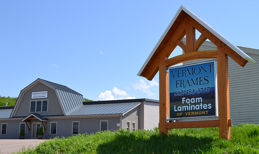 Vermont Frames building and sign