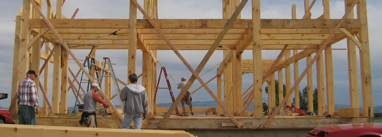 workers building a timber frame