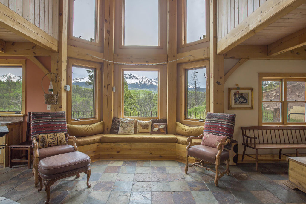 interior of Timber Frame Cape in Telluride, CO