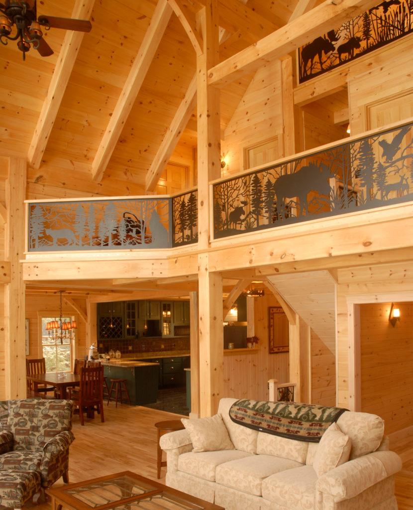 Interior living room timber frame