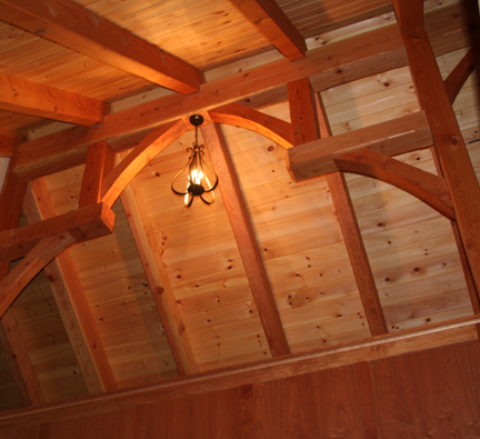 timber frame ceiling with oil board finish