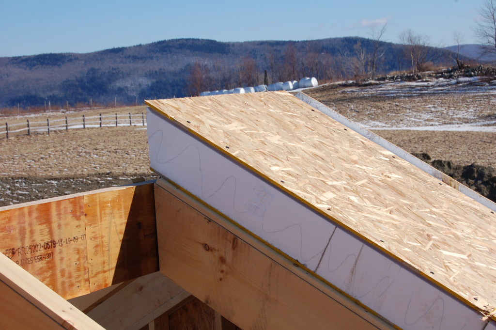 Inside of a SIP on a timber frame roof