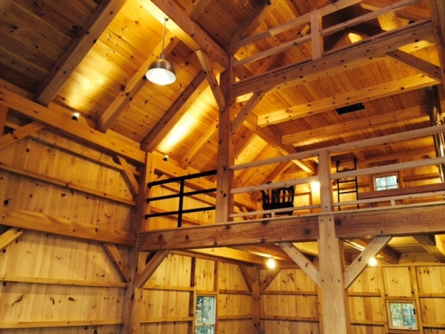 Finished interior of a timber frame barn