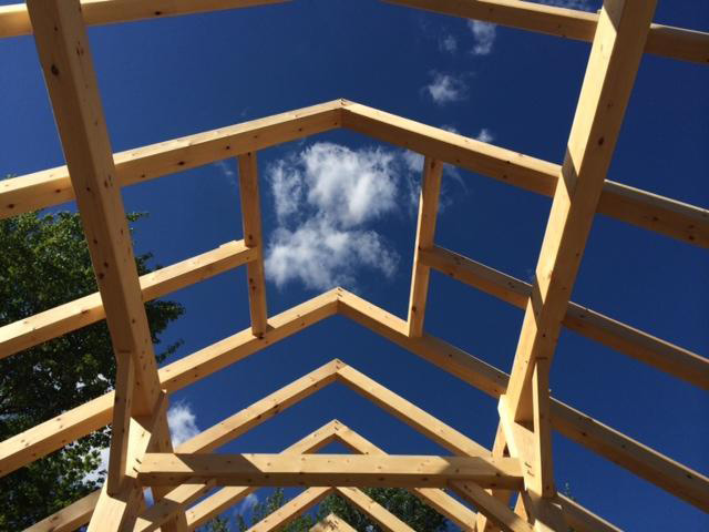 Timber frame beam structure of a barn