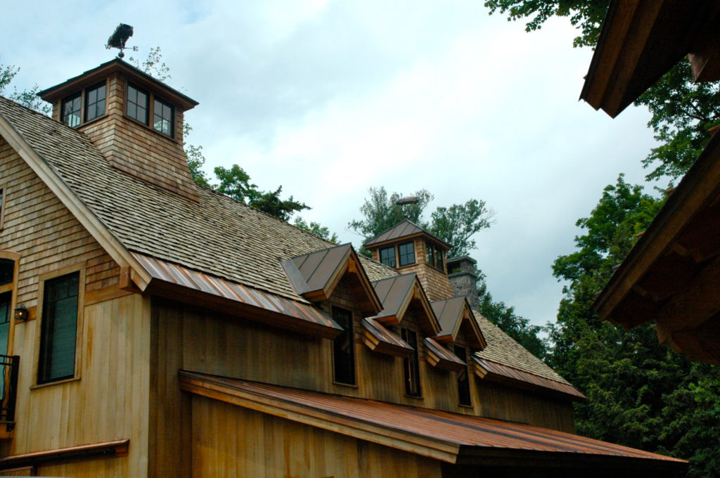 Roof of a finished timber frame barn