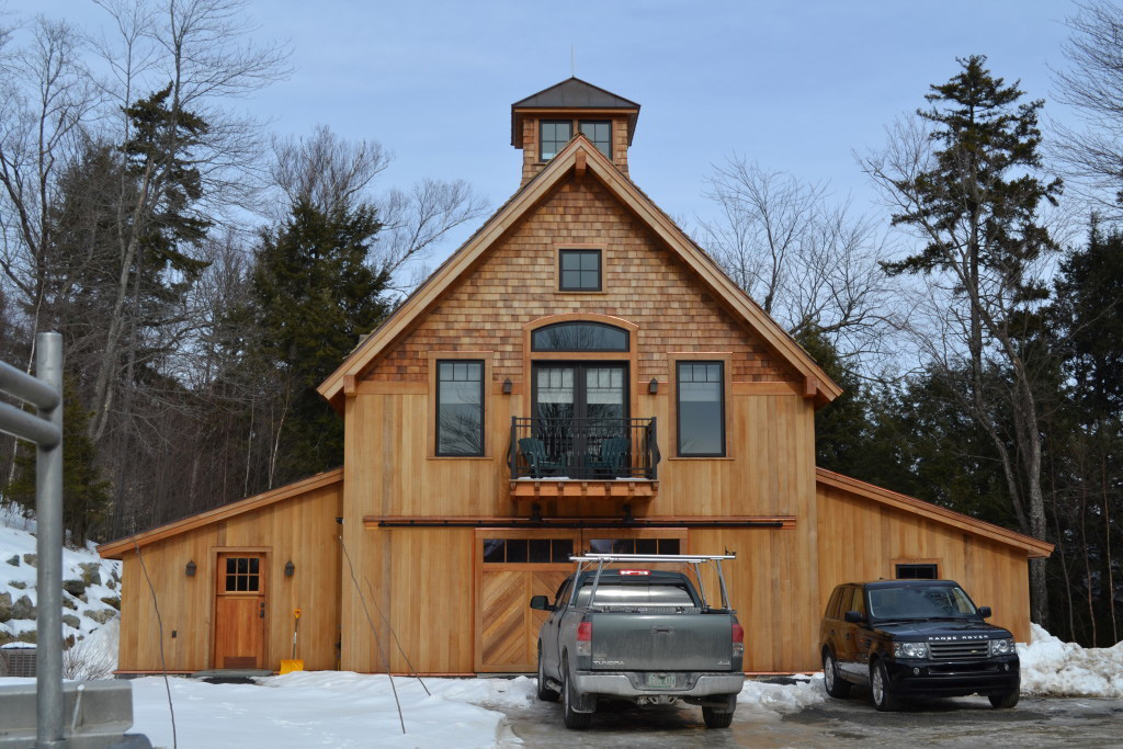 Finished exterior of a timber frame barn