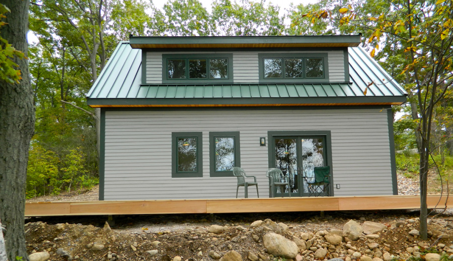 Finished exterior of a timber frame camp