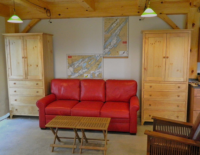 Living room in a timber frame camp