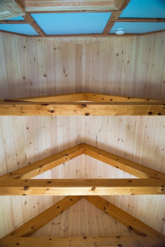 Finished ceiling in a timber frame camp