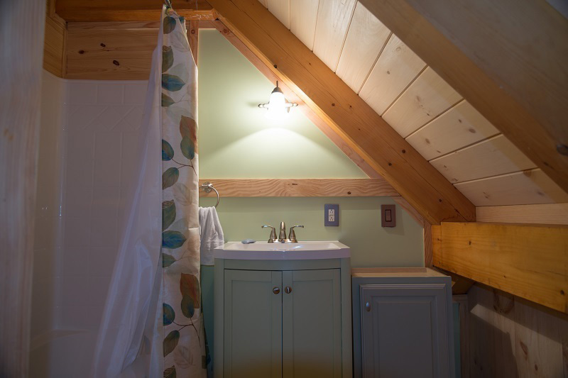 Bathroom in a timber frame camp