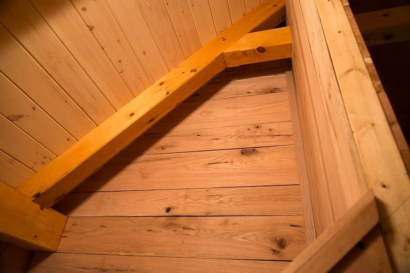 Timber beams in a camp