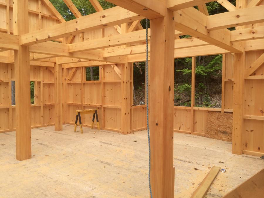 Interior of a timber frame camp structure in progress