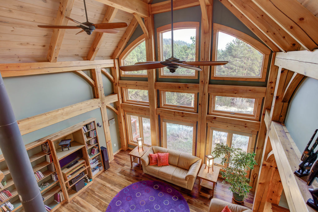 overhead shot of the living room in a timber frame cape