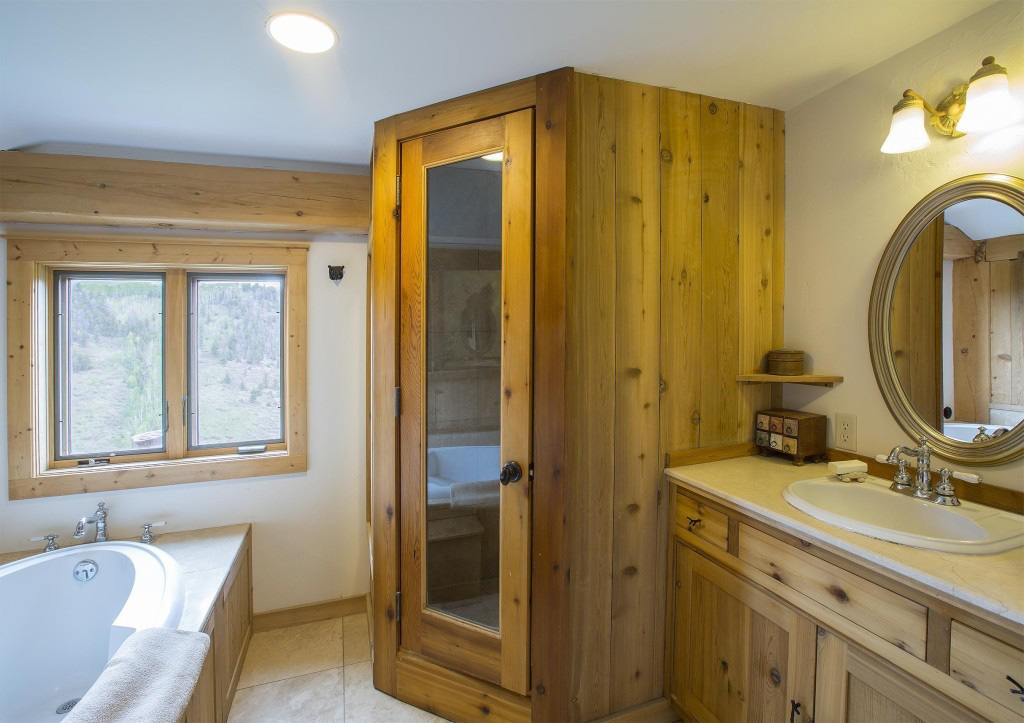 Bathroom in a timber frame cape