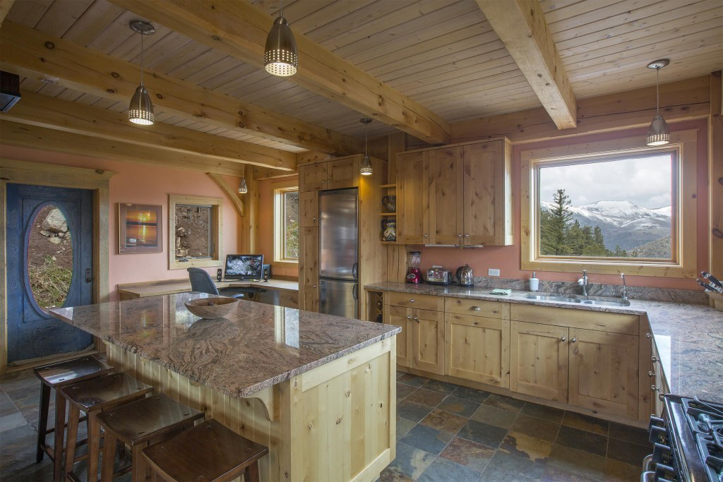 Kitchen in a timber frame cape