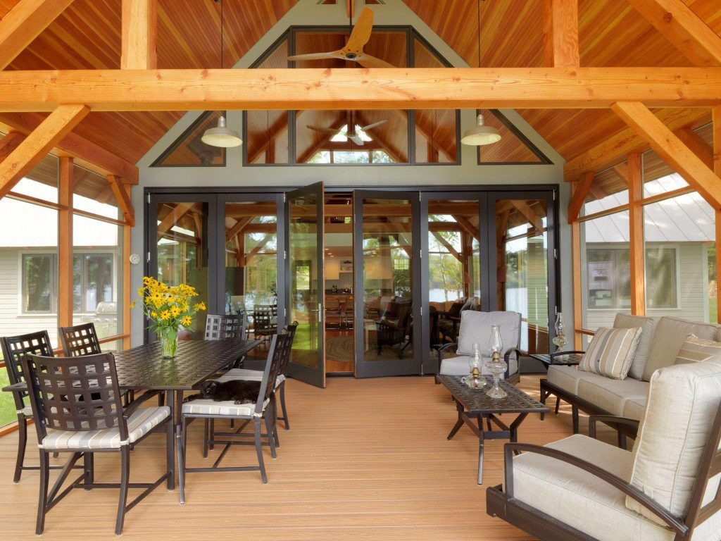 Outdoor patio in a timber frame cape