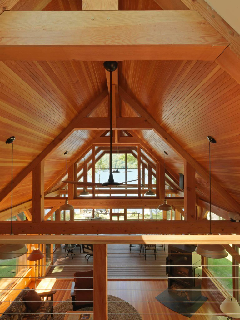Ceiling in a timber frame cape