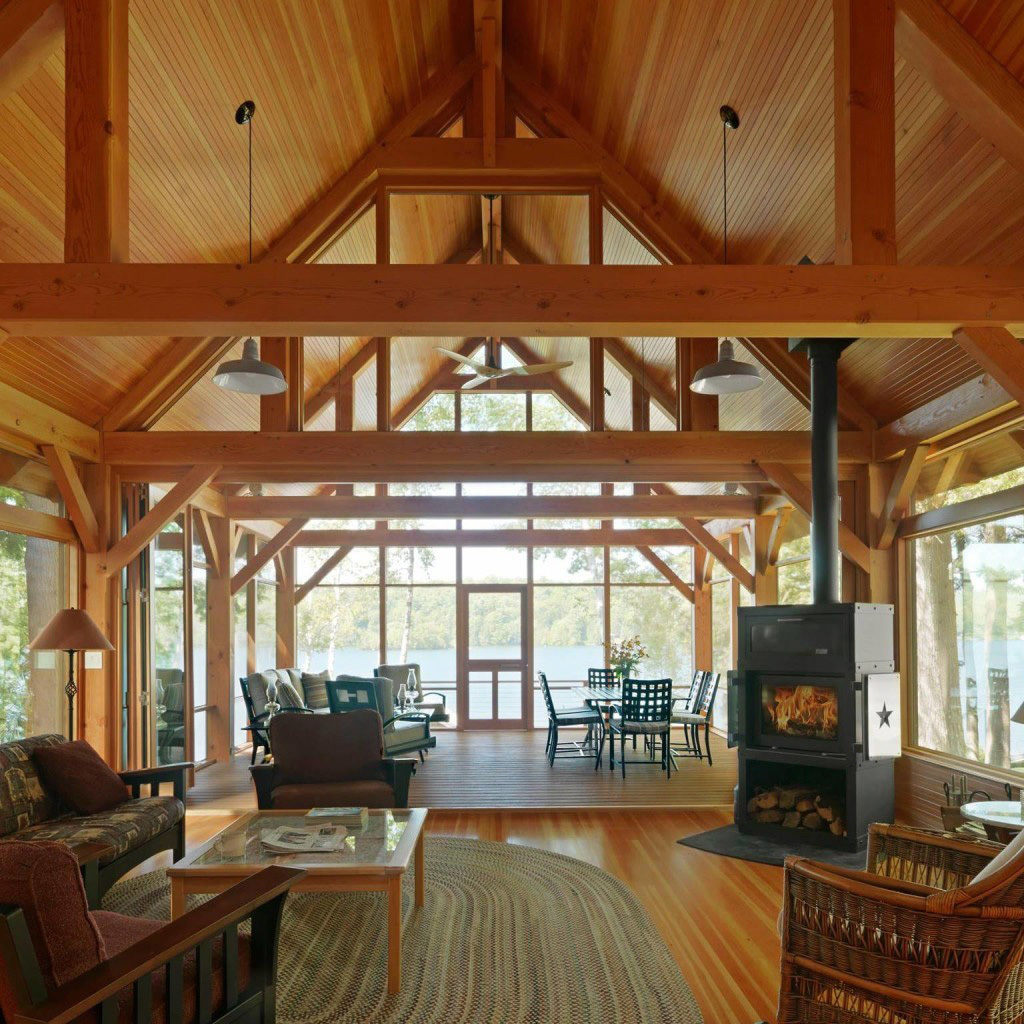 Interior of in a timber frame cape living room