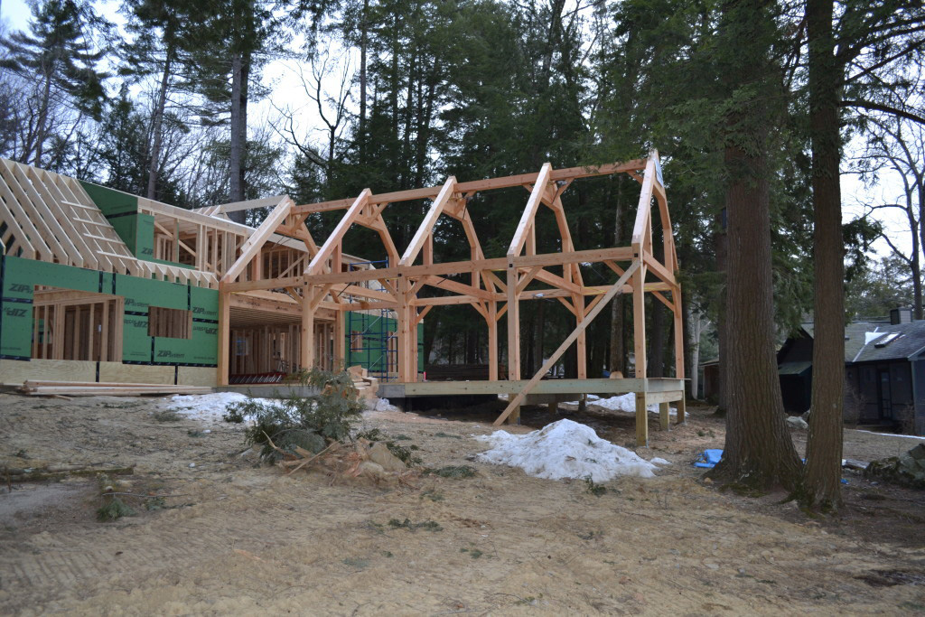 Timber frame structure of a living room