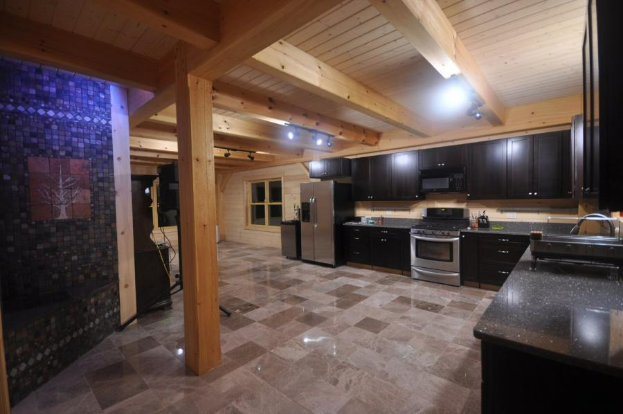 Kitchen in a timber frame colonial