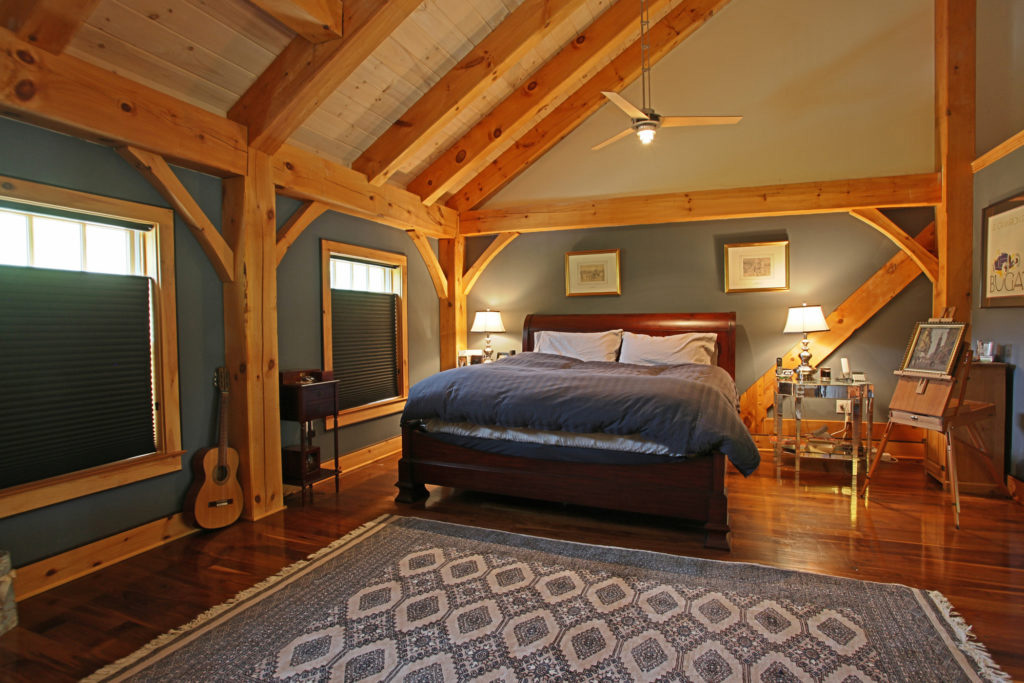 Bedroom in a timber frame colonial