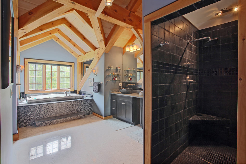 Bathroom in a timber frame colonial
