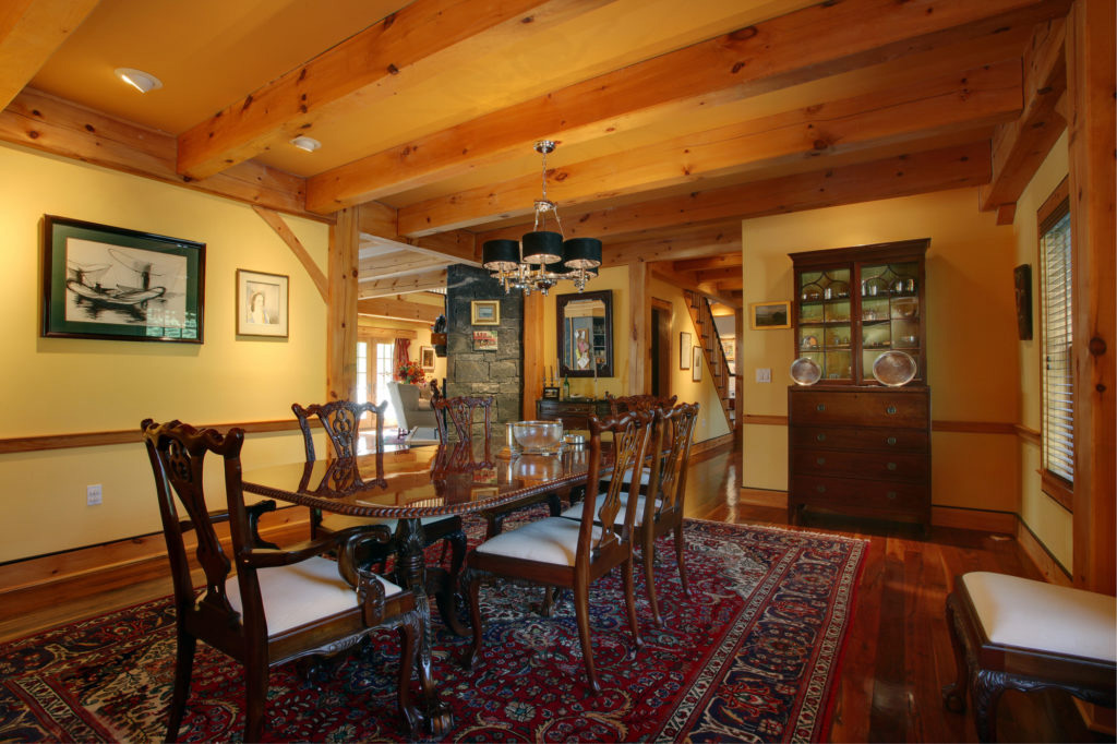 Dining room in a timber frame colonial