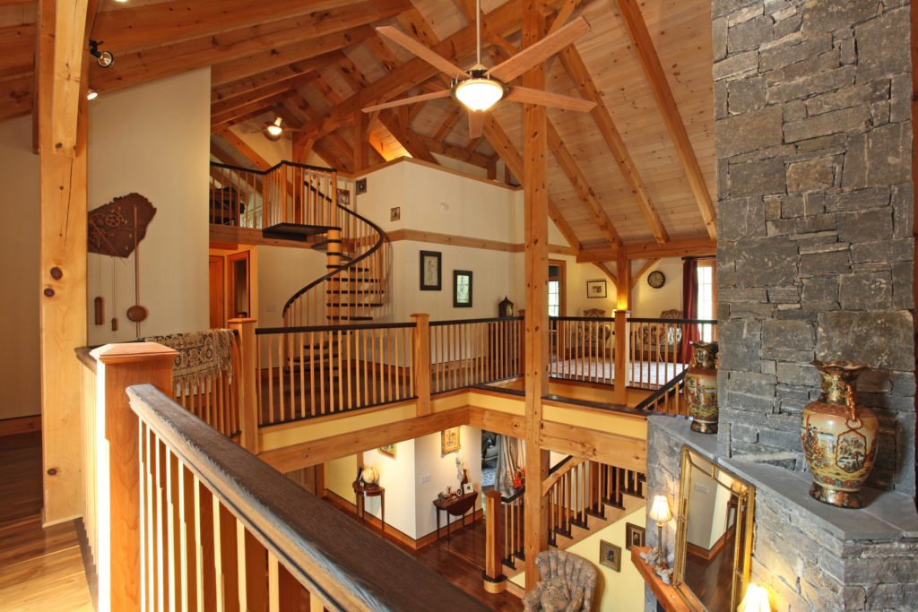 Second floor finished interior of a timber frame colonial