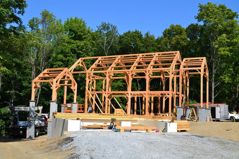 Exterior structure of a timber frame colonial