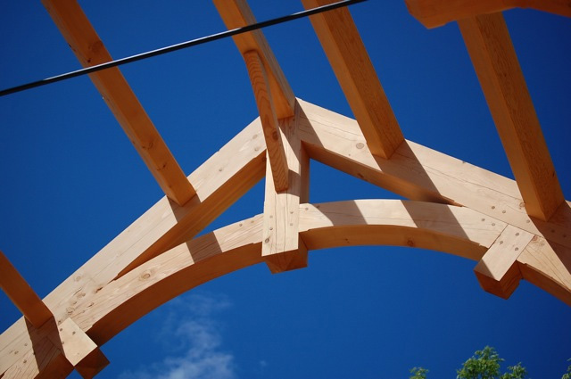 A timber frame truss