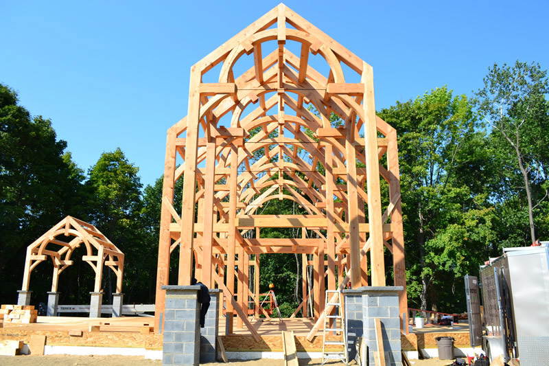 A timber frame colonial structure