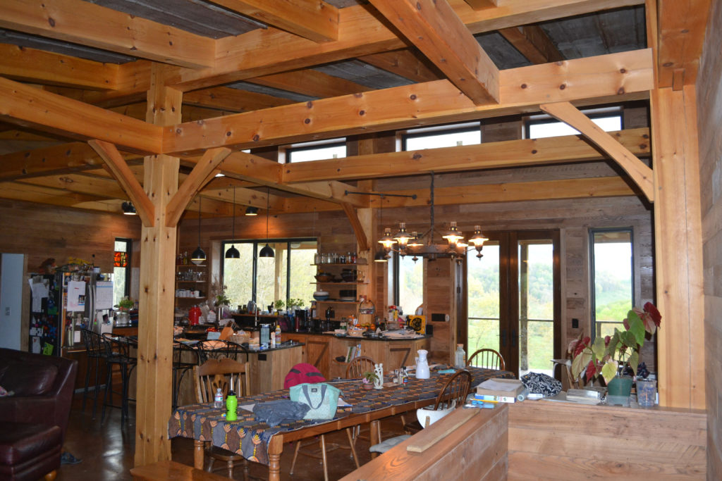 Kitchen in a timber frame contemporary building
