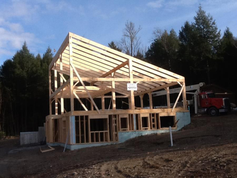 Timber frame structure of a contemporary building