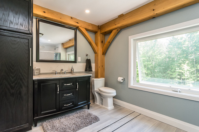 Bathroom in a timber frame dutch saltbox