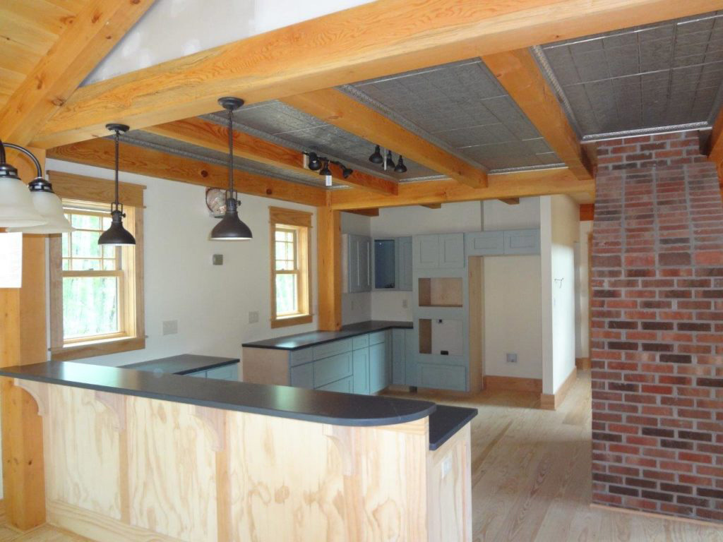 Kitchen in a timber frame dutch saltbox