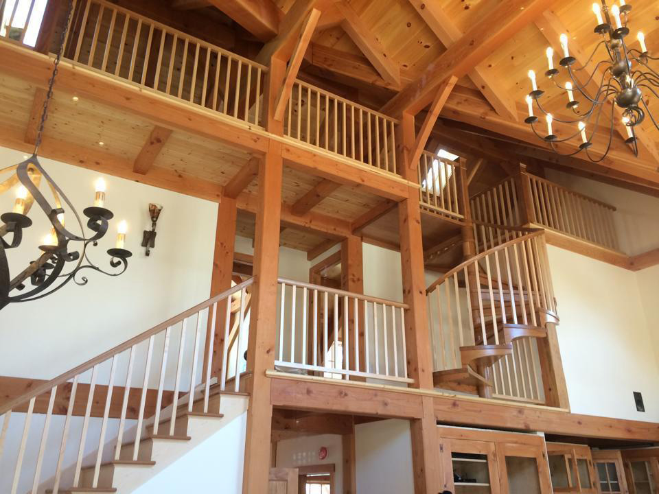 Staircases in a timber frame dutch saltbox