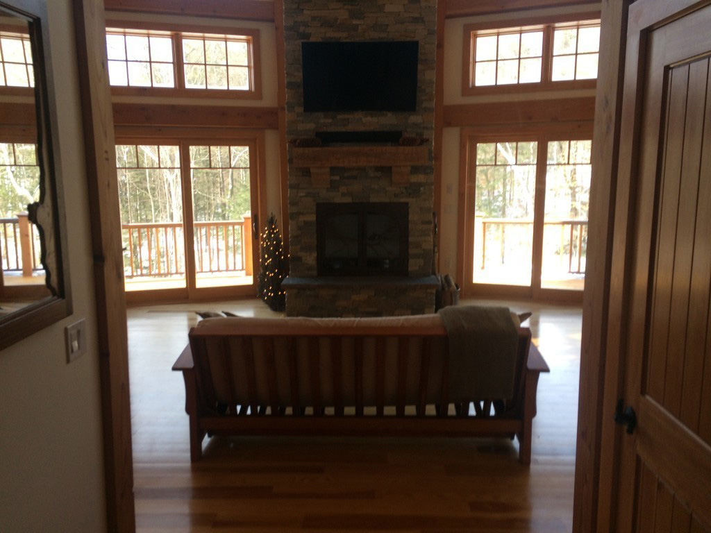 Living room in a timber frame dutch saltbox