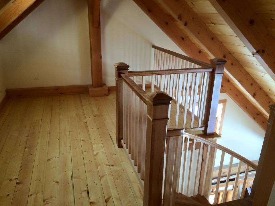 Upstairs of a timber frame dutch saltbox