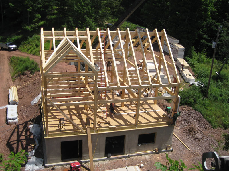 Overhead shot of a timber frame dutch saltbox structure