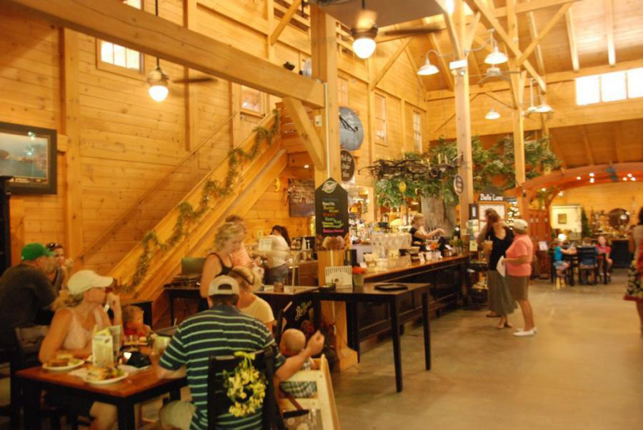 Seating and checkout area in a timber frame garden center