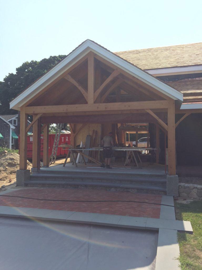 Timber frame pavilion structure in progress