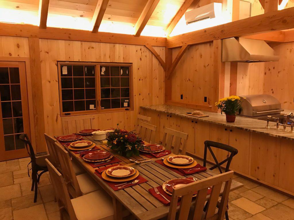Finished interior dining room of a timber frame pavilion