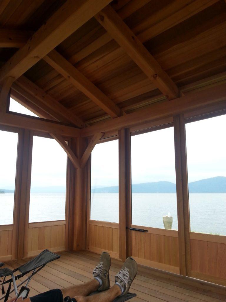 Finished interior of a timber frame pavilion
