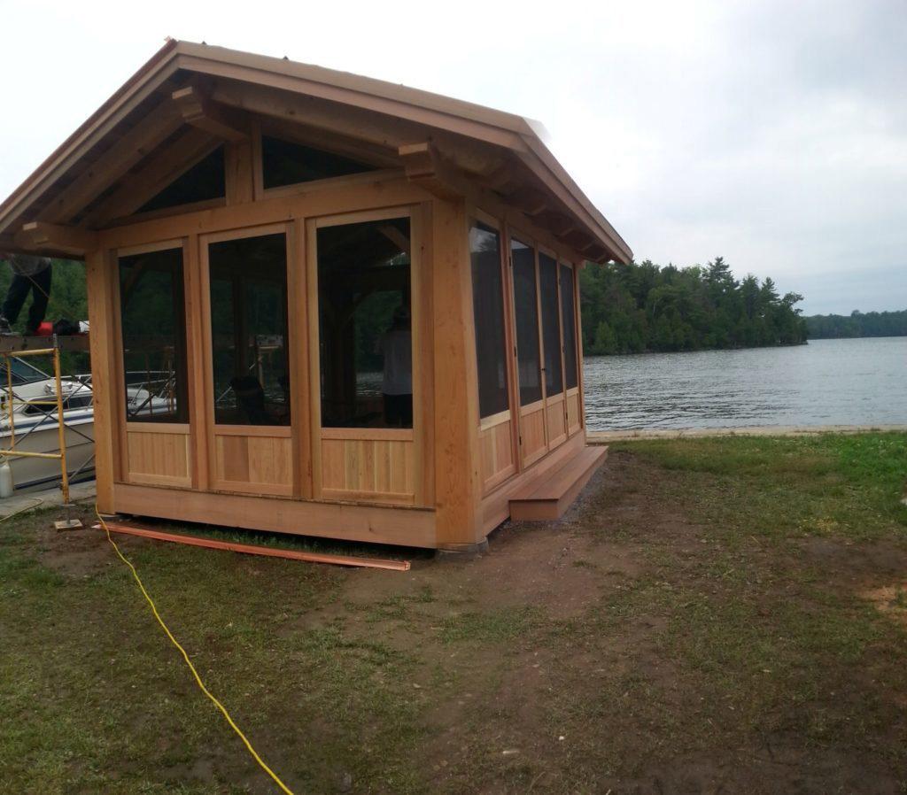 Finished exterior of a timber frame pavilion