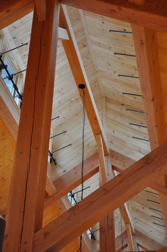 Timber frame ceiling in a summer camp mess hall