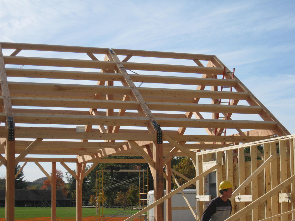 Timber frame structure of a summer camp mess hall