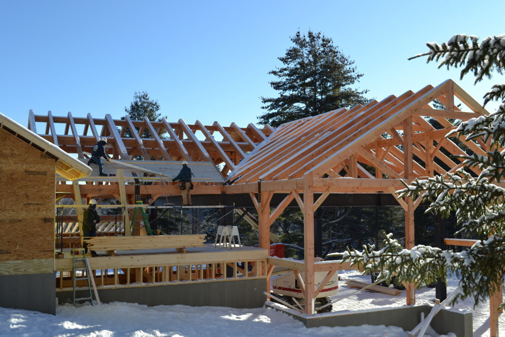 Timber frame structure of a summer camp pavilion being built