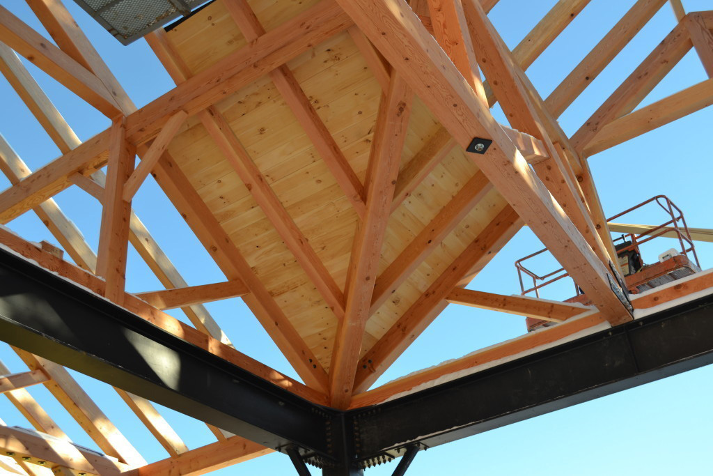 Timber frame structure of a summer camp pavilion