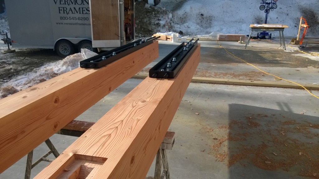 Two timber frame beams